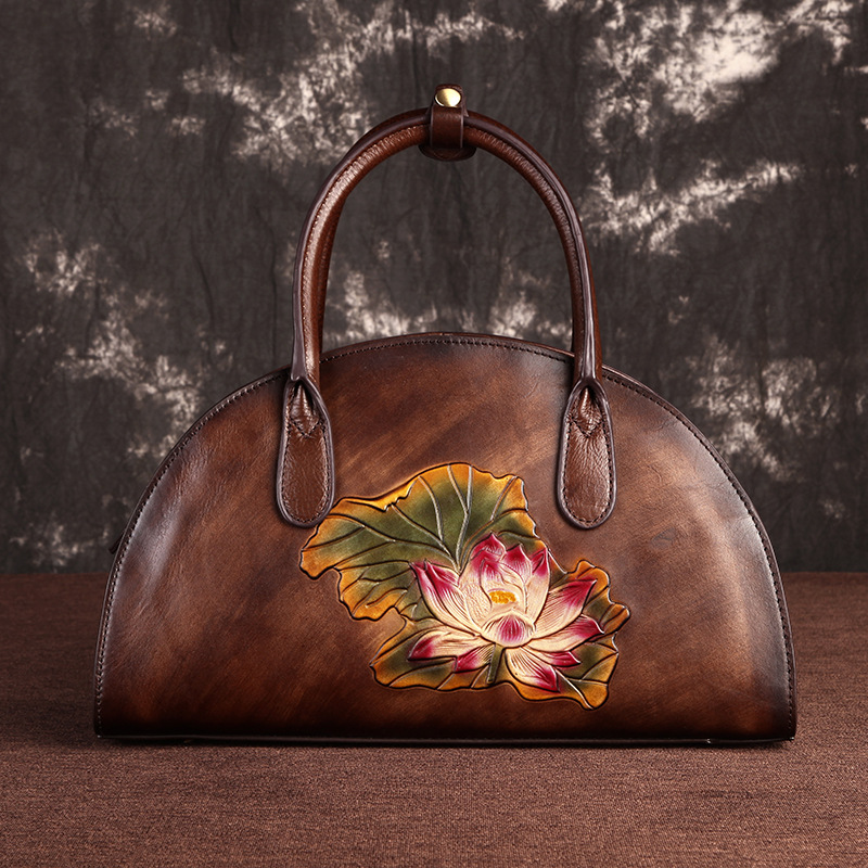 First Layer Cowhide Shoulder Cross body Female Bag Handbag Floral Embossed Luxury Vintage Women Genuine Leather Messenger BagsFirst Layer Cowhide Shoulder Cross body Female Bag Handbag Floral Embossed Luxury Vintage Women Genuine Leather Messenger Bags