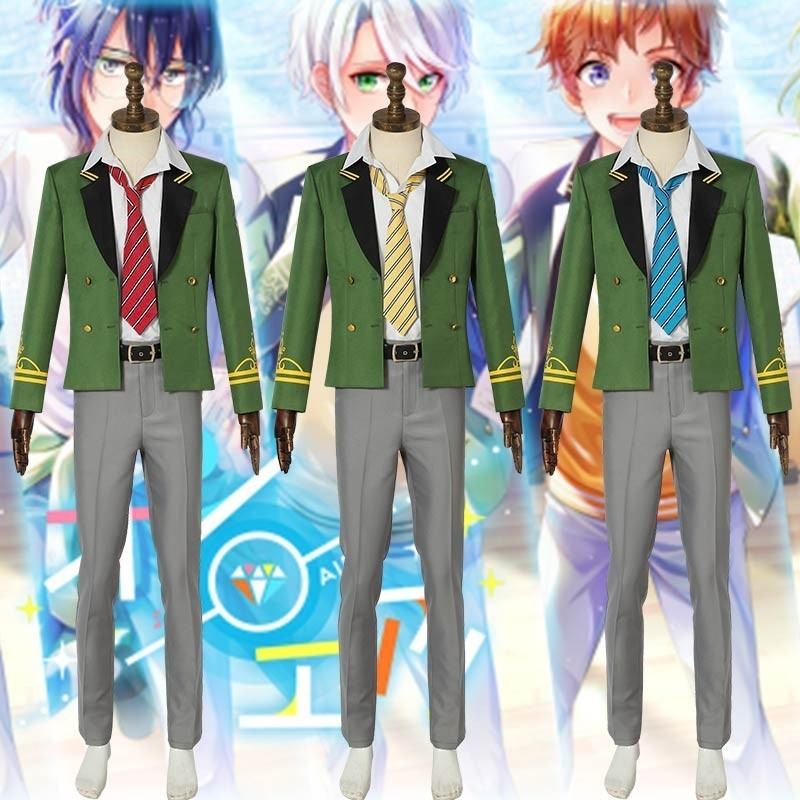 Anime On Air! Cosplay Kisaki Chihiro Costume Suit Carnival Adult Men Halloween Custom Made Full Set School Uniform Green Coat