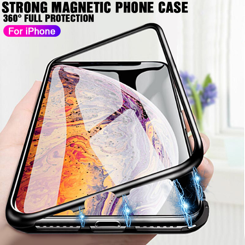 Luxury 360 Adsorption Magnetic Metal Flip Case For iPhone X XR XS MAX Transparent Glass Cover Case For iPhone 6 6S 7 8 Plus CaseLuxury 360 Adsorption Magnetic Metal Flip Case For iPhone X XR XS MAX Transparent Glass Cover Case For iPhone 6 6S 7 8 Plus Case