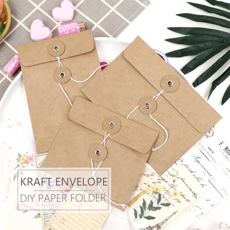 MyPretties 6PCs DIY Envelopes Kraft Paper Closure Folder Bag In Planner TN Traveler Collecting Tools Decoration Accessory