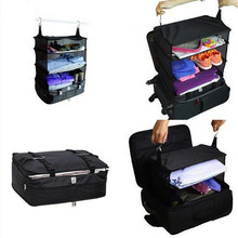 3 Layers Portable Travel Storage Bag Hook Hanging Nylon Mesh Organizer Wardrobe Clothes Shoes Luggage Shelves Bags B4