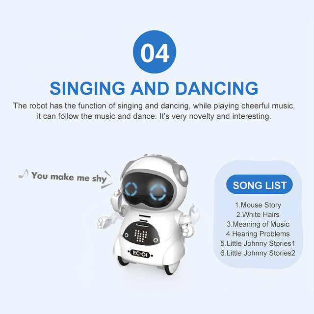 939A Pocket Robot Talking Interactive Dialogue Voice Recognition Record Singing Dancing Telling Story Mini Robot Toy
