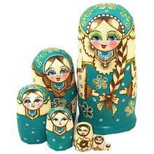 7ピース/ロット美しい人形木製マトリョーシカ人形キッズギフトロシアネスティング人形ベビーおもちゃの少女人形高品質のおもちゃ & 趣味