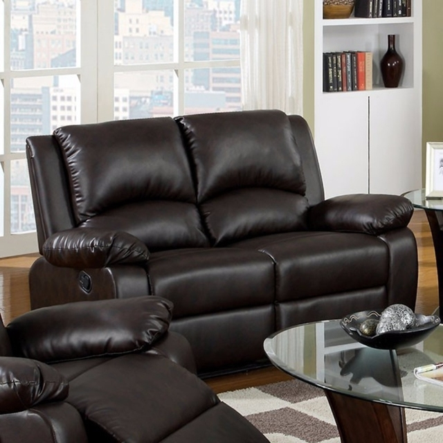 Cozy Leatherette Motion Loveseat Brown