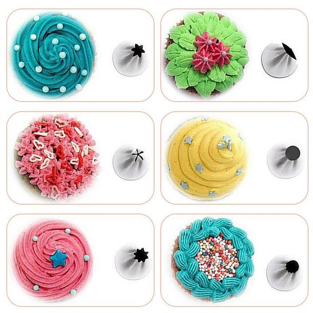 64 Pieces Cake Decorating Kit Baking Tool Piping Tips Flower Pastry Icing Bag Nozzle