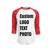 Мужская летняя футболка на заказ с рукавом 3/4 принтом логотипа/текста/имени/фото