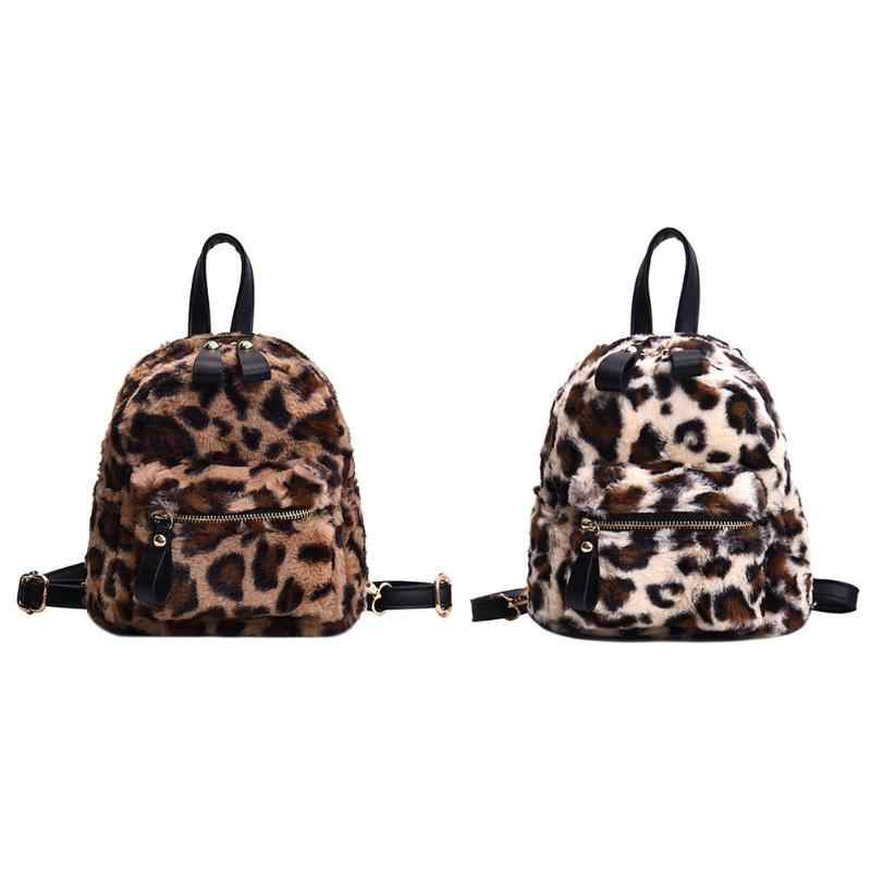 ... 2018 New Preppy Style Faux Fur Backpack Bag Women Girls School Backpack  Leopard Print Shoulder Mini ...