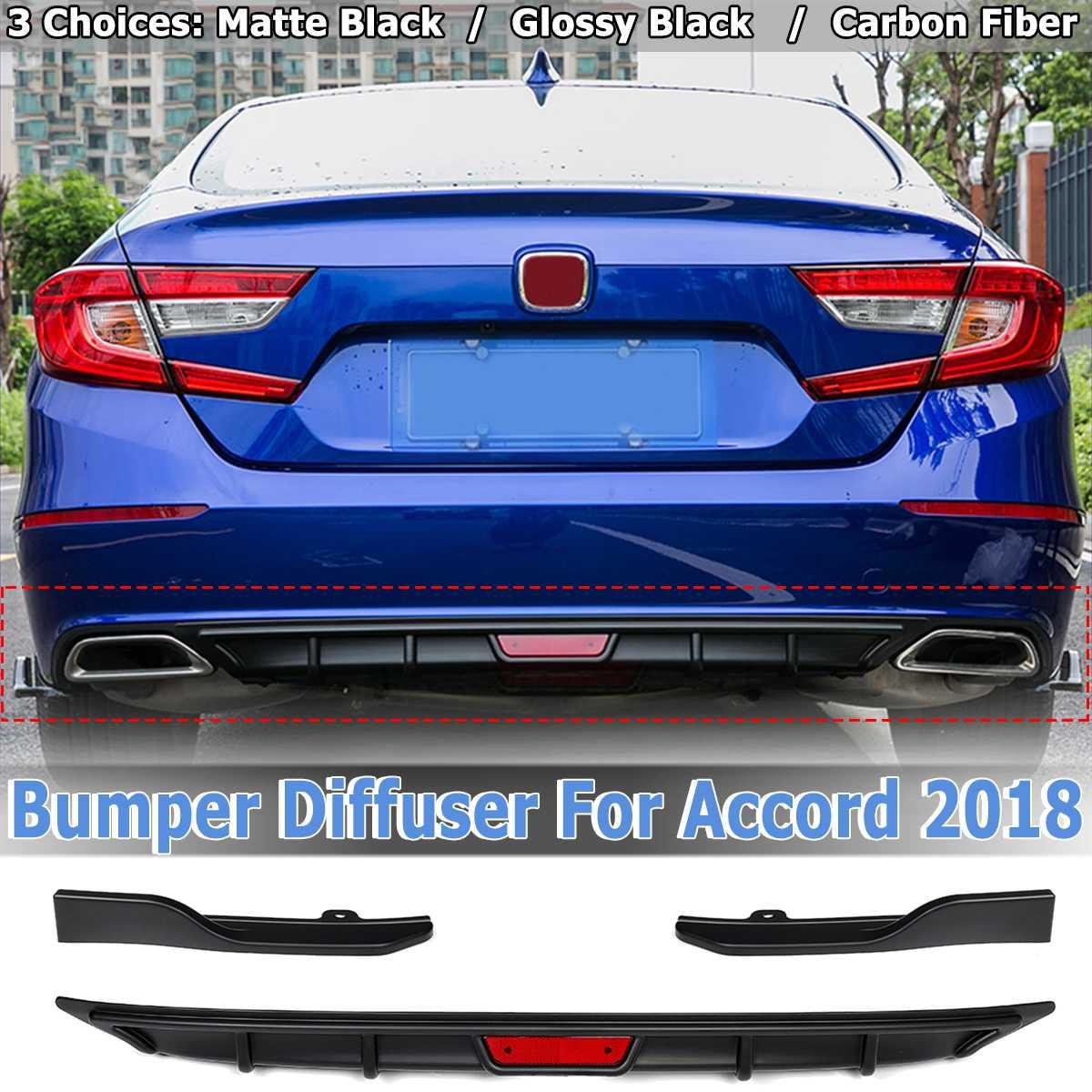 3PCS Rear Bumper Chin Cover Lip Diffuser Side Spoiler Wing For Honda For Accord 2018 Matte Black/ Glossy Black/ Carbon Fiber