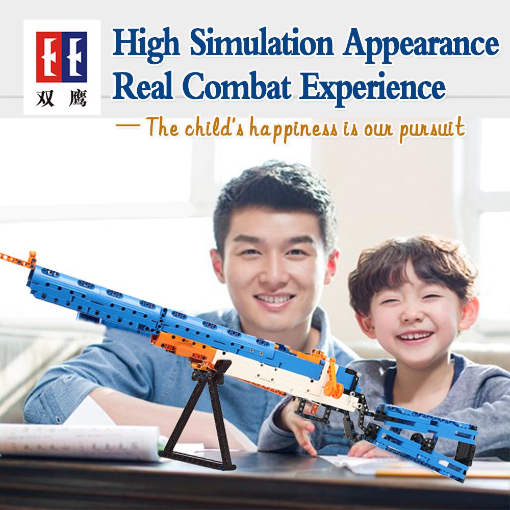rubber band  gun  AK-47 Garand Rifle  Gun military bricks weapon set can fire building blocks toy for children gift 1
