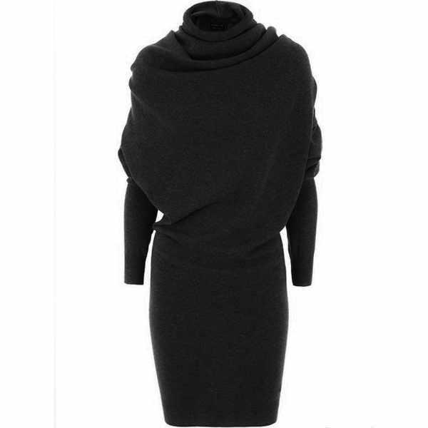Женское платье Swaeater, зима 2019, теплое, черное, Осеннее, повседневное, облегающее, верблюжье, водолазка, шерсть, Смешанная, модное, женское, офисное платье