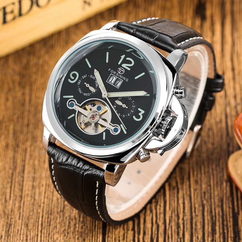 FORSINING Mens Watches Top Automatic Mechanical Watch Tourbillon Clock Male Leather Military Business Retro Wristwatches for MenFORSINING Mens Watches Top Automatic Mechanical Watch Tourbillon Clock Male Leather Military Business Retro Wristwatches for Men