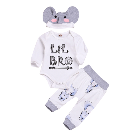 2019 New Newborn Baby Boy Girls  Little Brother Tops 3pcs  Romper + Pants+ Cute Hat Outfits Set Clothes Spring Autumn Size 3-26M Pakistan