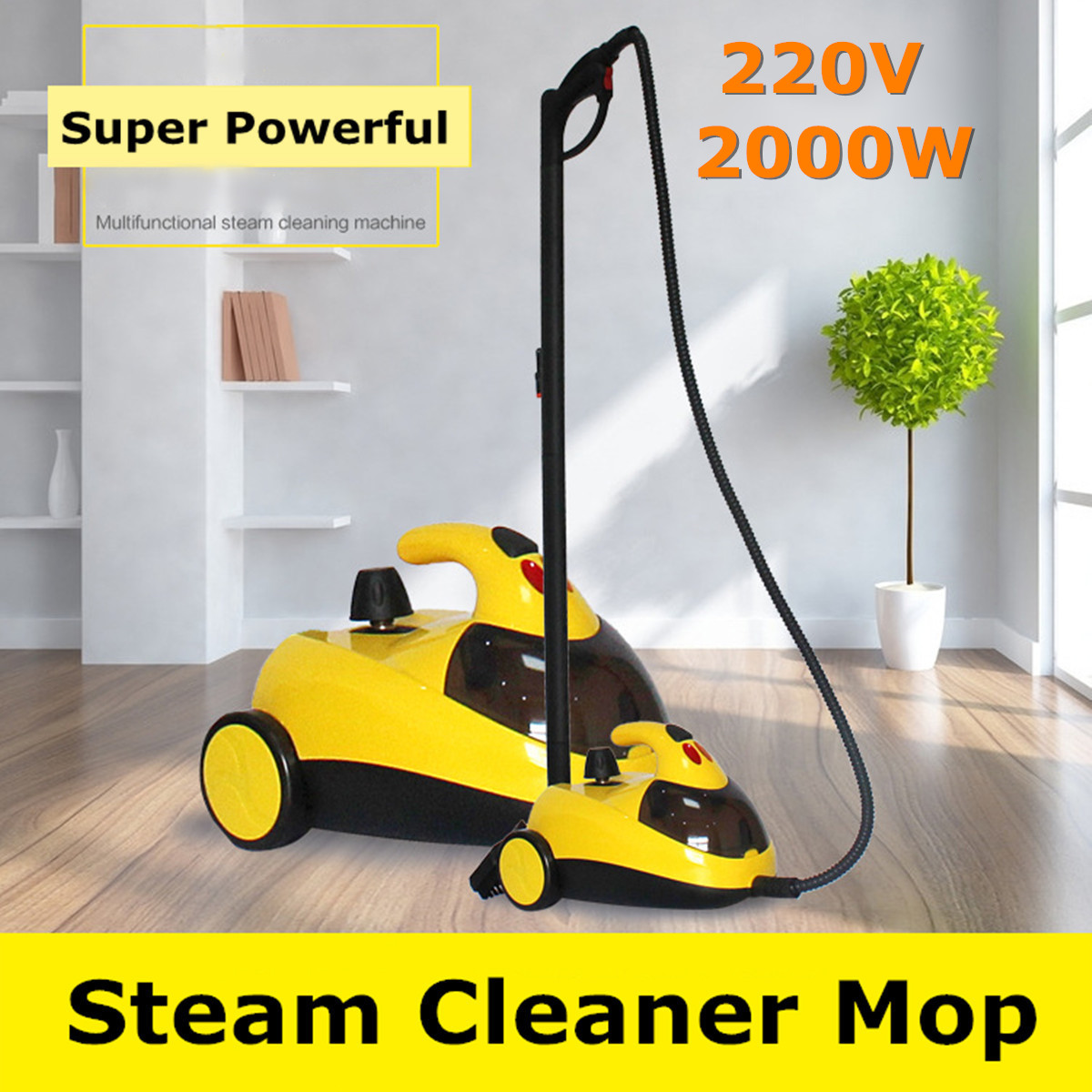 Floor Carpet Cleaner 13in1 AU220V 1.5L4.0 2000W Bar High Pressure Steam Washer Cleaning Machine 360 Wheel for Clean Bathroom Car
