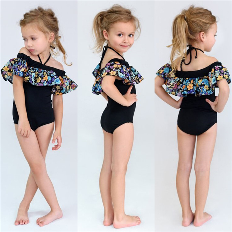 Girls' Baby Clothing Bodysuits & One-pieces Kid Baby Girls Flower Black Swimsuit 2019 New One Piece Off Shoulder Swimwear Kid Beachwear Bathing Suit Bodysuit With The Best Service
