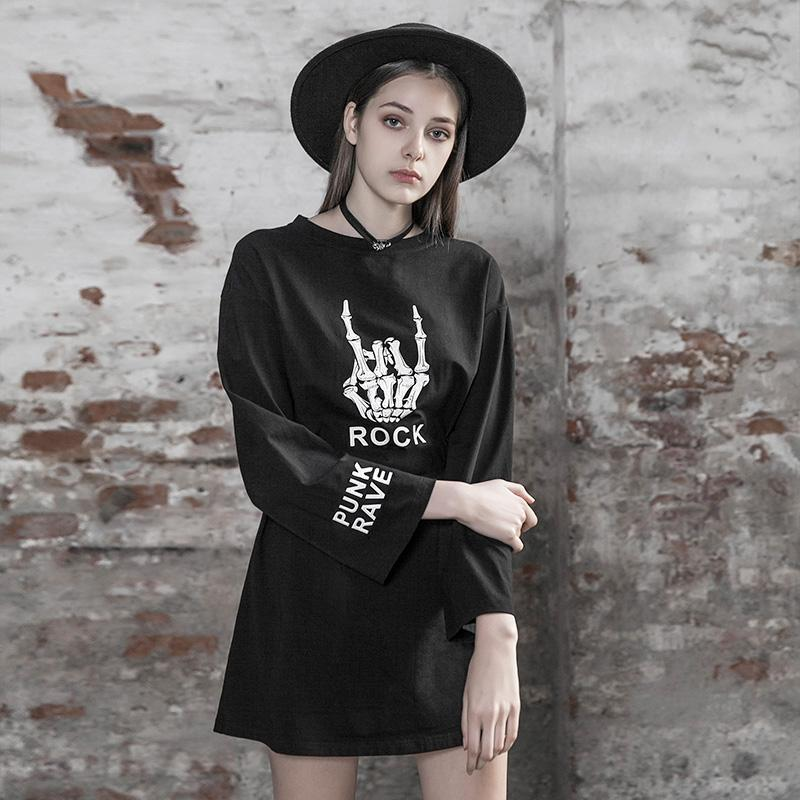 Punk Rave femmes Goth Rock manches longues dos petite robe PQ504LQ