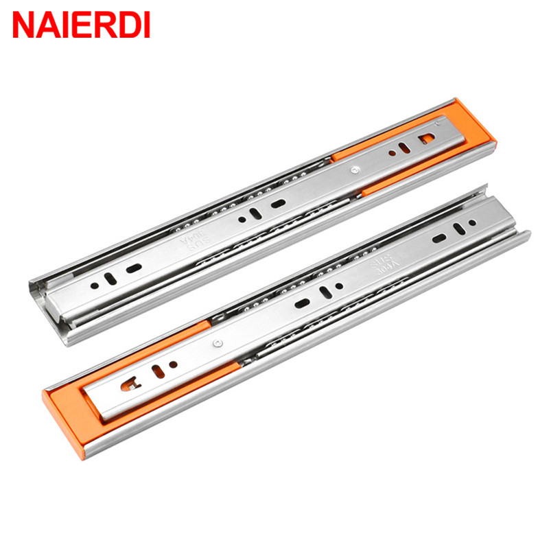 NAIERDI Buffer Damper Rails 10-22 Stainless Steel Cabinet Slides Soft Close Three-Section Drawer Rails Drawer Slides HardwareNAIERDI Buffer Damper Rails 10-22 Stainless Steel Cabinet Slides Soft Close Three-Section Drawer Rails Drawer Slides Hardware