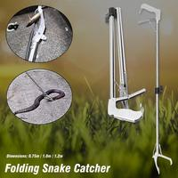 Змея из нержавеющей стали щипцы для наращивания волос складной Tong Stick Grabber Catcher Охота Инструмент Открытый Рыба Cather змея ловить Рыбалка инстр...