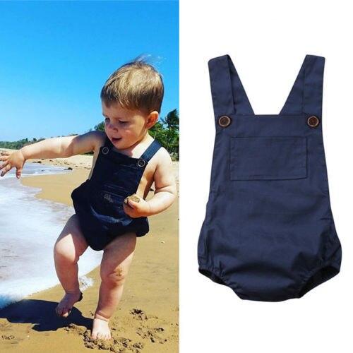 Синий комбинезон без рукавов для новорожденных девочек 0-18 месяцев, хлопковый Летний комбинезон для маленьких девочек