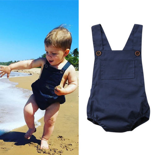 0-18M Newborn Baby Girls Sleeveless Blue   Romper   Cotton Summer Baby Girls Jumpsuit Overalls