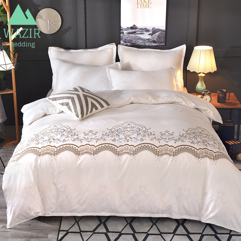 WAZIR Pillowcases Bedding-Set Comforter Duvet-Cover-Set Bed-Sheet Lace Solid-Color Luxury