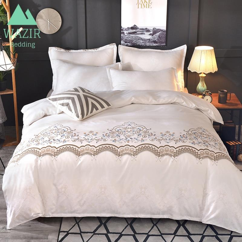 WAZIR Luxury Lace Solid Color Bedding Set 3pcs Duvet Cover set Pillowcases Bed Sheet Bedclothes comforter