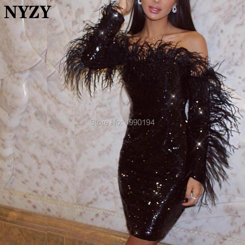 NYZY C97 Chic Off Shoulder Feather Cocktail Dresses Long Sleeve Black Evening Dress Short Vestido Coctel 2019
