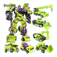 Pokich Devastator Transformation G1 GT Oversize 6IN1 Bonecrusher Scrapper Gravity Mixmaster Hook KO Action Figure Robot Toys