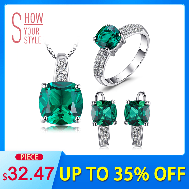 NakitPalace 8.7ct Emerald Ring Privjesak Clip Naušnice Set 925 Sterling Silver Fine nakit 45cm Box Lanac