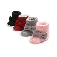 Winter Baby Snow Boots New Newborn Shoes Baby Girl Snow Boots With Bow-knot Warm Toddler Girls Shoes Soft Cotton Outdoor Booties(China)