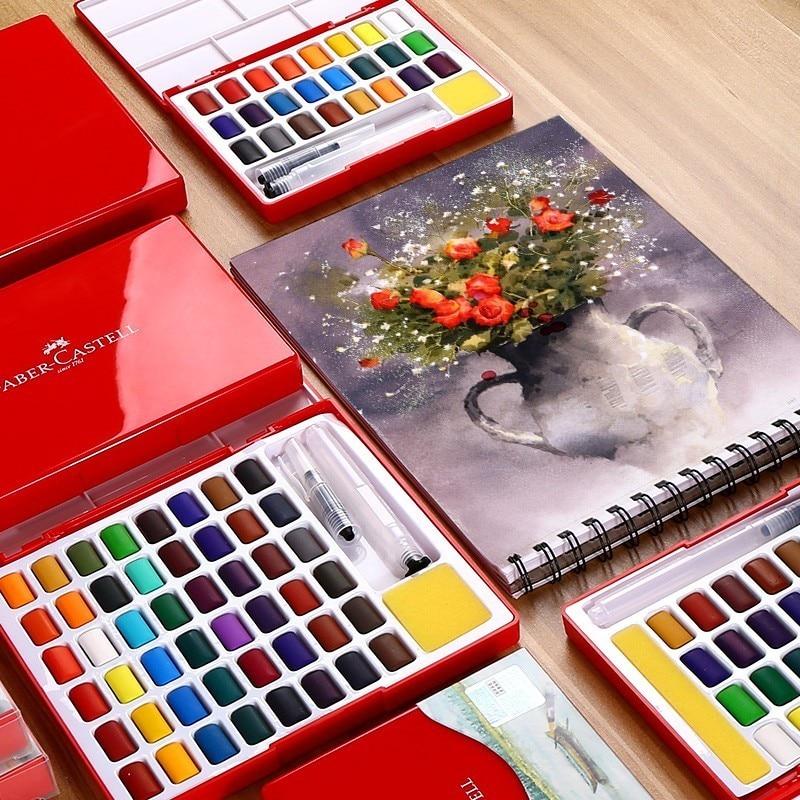 Faber-castell 24/36/48 couleurs solide ensemble de peinture à l'eau avec pinceau couleur vive Portable aquarelle ensemble de pigments
