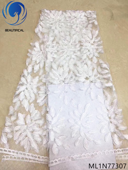 BEAUTIFICAL nigerian lace fabrics embroidered lace fabric african lace fabric white materials fashion style 5 yards/lot ML1N773