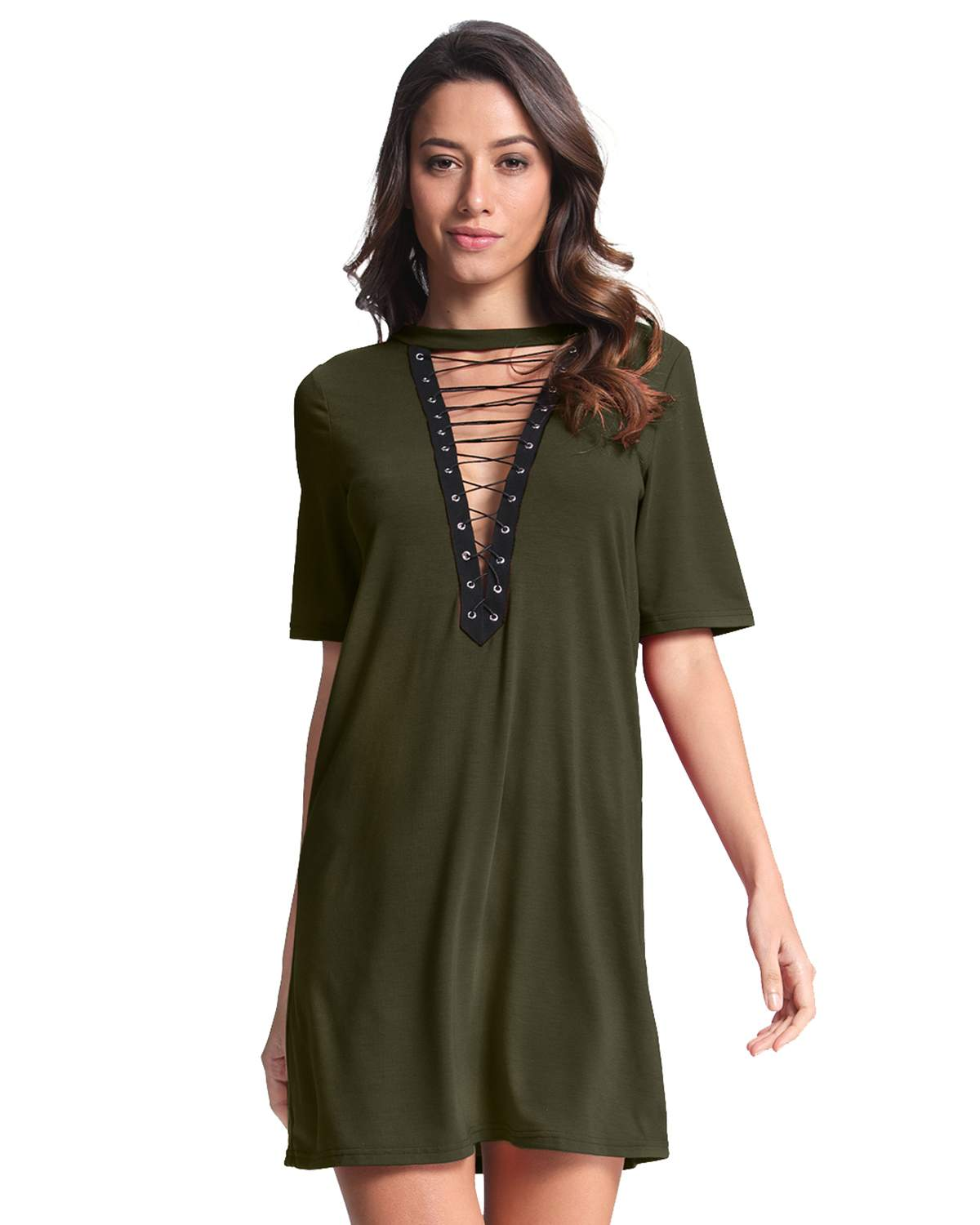 Summer Casual Dresses Women Choker Lace Up Hollow Out Patchwork Mini Dress Sexy V-Neck Short Sleeve Bandage Vestidos Plus Size
