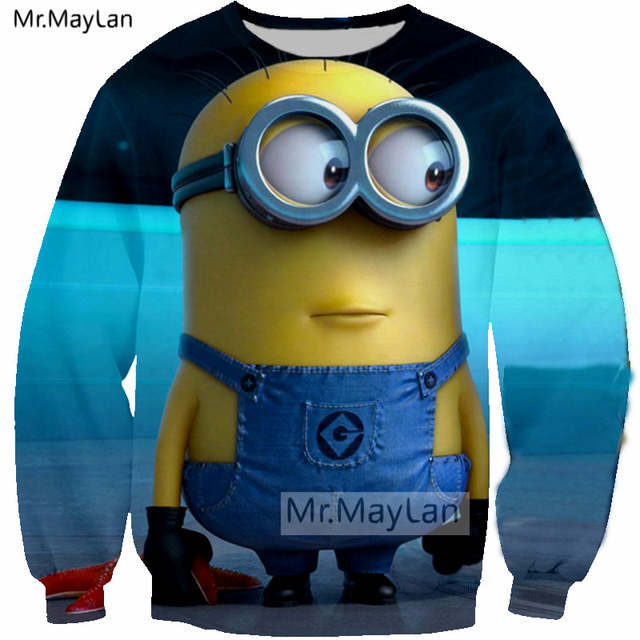Us 15 65 33 Off Christmas Sweatshirts 3d Print Cartoon Despicable Me Cute Minions Men Women Kawaii Streetwear Coat Girls Red Clothes Outfits In