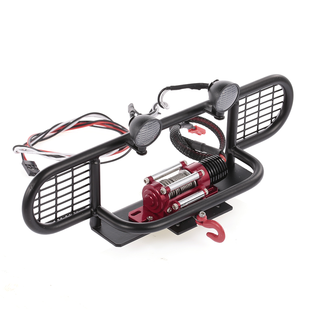 RC Car Parts Metal Bumper with 2 LED Light Remote Control Winch for 1 10 TRX