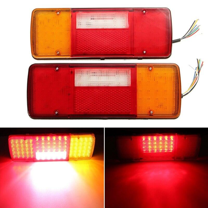 2PCS 12V 92LEDS Trailer Truck LED Tail Light Lamp Yacht Car Trailer Taillight Reversing Running Brake Turn Lights