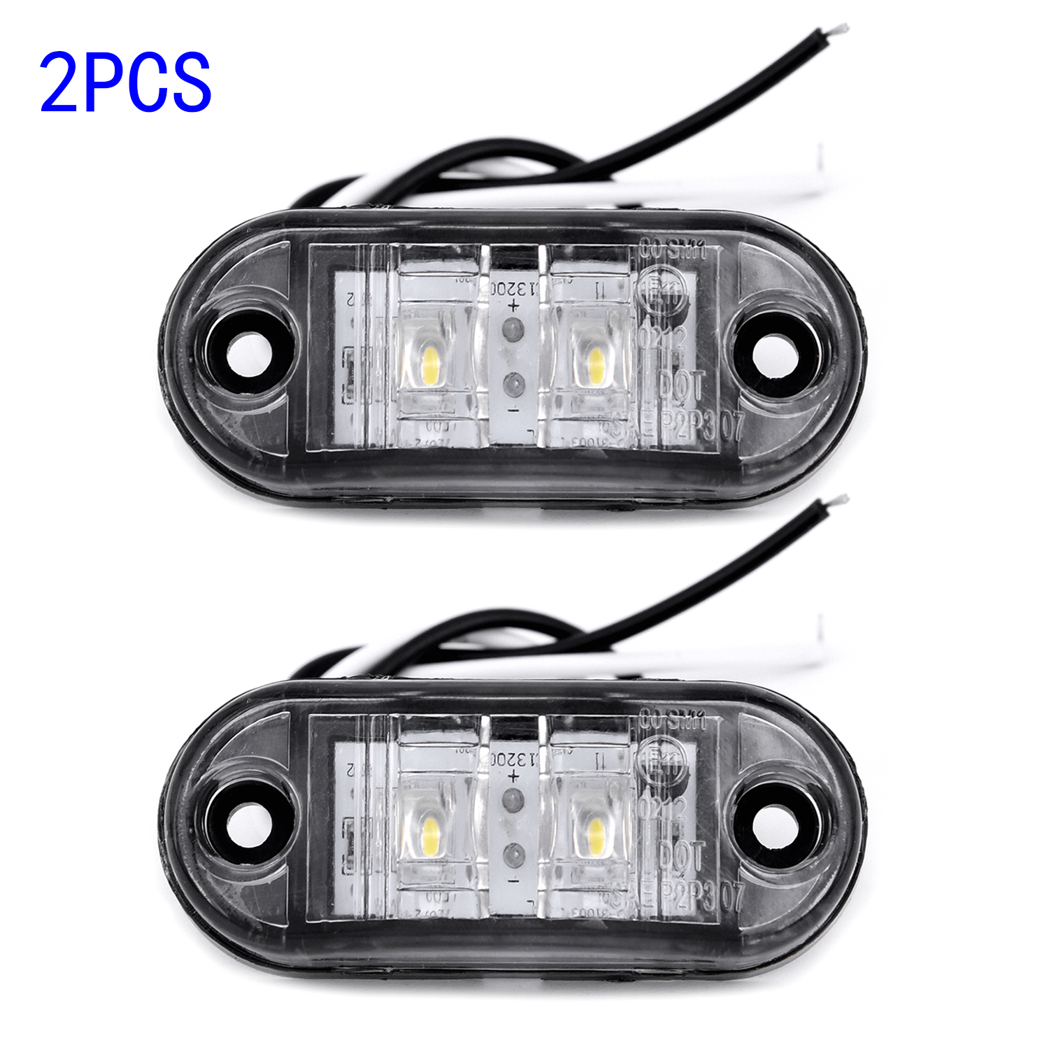 2pcs White 12V LED Car Side Marker Tail Light 24V Trailer Truck Lorry Lamp Side Marker Lights Car External Lights Warning Light