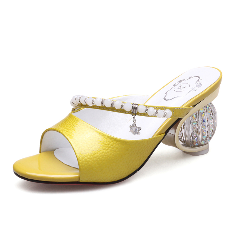Silver Mules Genuine leather Slippers 8 CM Chunky Heels Open-toe Women Sandals Pearl decoration Shoes Box Packing Q916-2Silver Mules Genuine leather Slippers 8 CM Chunky Heels Open-toe Women Sandals Pearl decoration Shoes Box Packing Q916-2