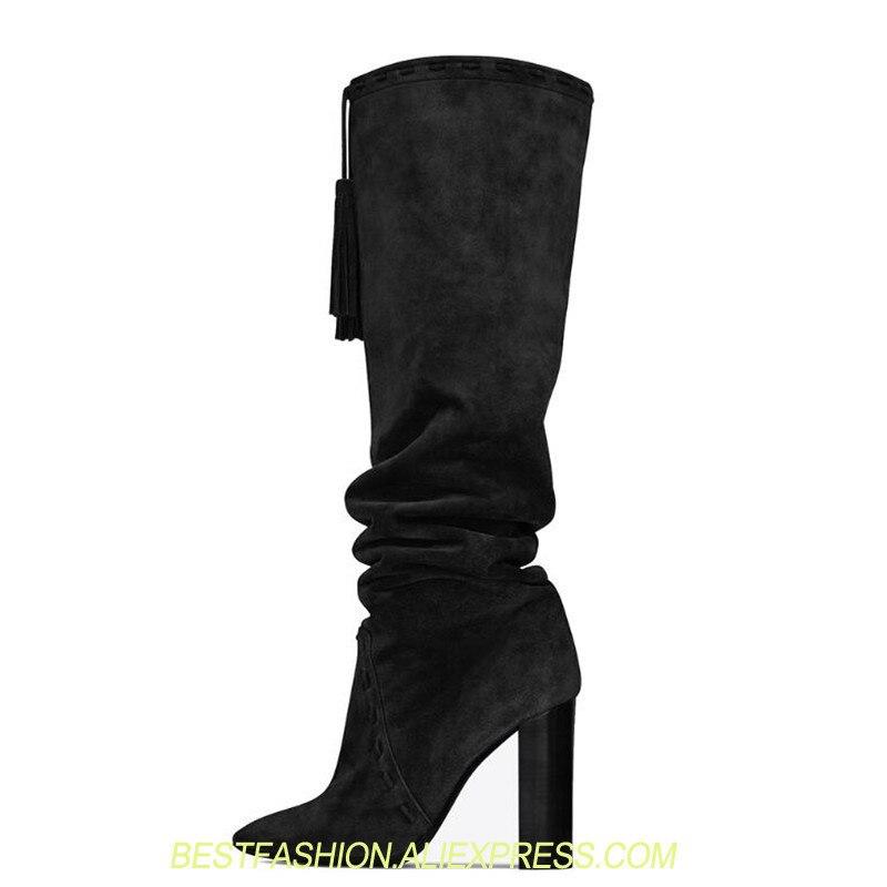Moda Invierno Picture Mujer De Alto Zapatos Picture Arrugado Resbalón Tacones Mujeres E En Bota Gamuza Botas Otoño Borla Gruesos as As Tacón xOYwnxICq1