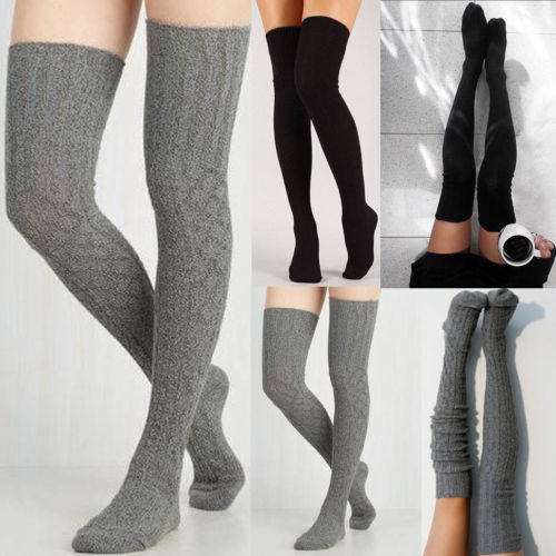 1 Pair Women Girl Over Knee High Stockings Spring Fall Winter Warm Knit Soft Thigh High Solid Color Skinny Gray Black Stockings