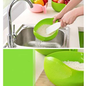 Image 4 - Food Grade Plastic Rice Beans Peas Washing Filter Strainer Green Pink Color Basket Sieve Drainer Cleaning Gadget Color At Random