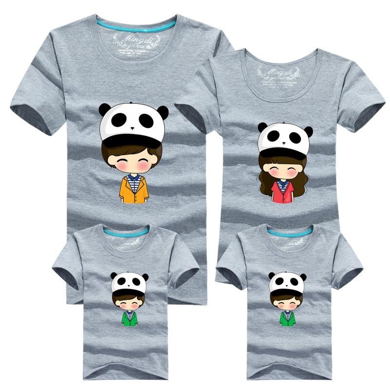1 kus rodiny vybavené krátké rukávy odpovídající oblečení Cartoon Panda tričko Pro matku otce Baby Móda Rodinné oblečení 060