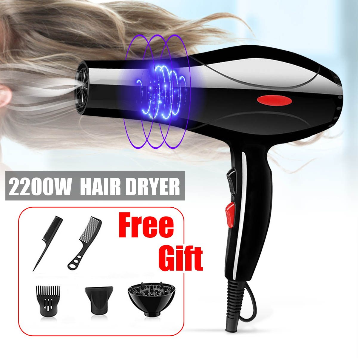 EU/US Plug 2200W Hot And Cold Wind Hair Dryer Blow dryer Hairdryer Styling Tools For Salons and household use