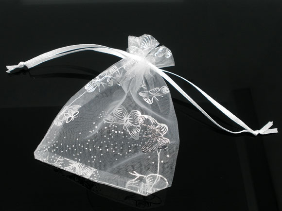 Butterfly, Organza, Wedding Gift Bags&Pouches, W/Draw String, 100PCs, 7x9cm (B06403)
