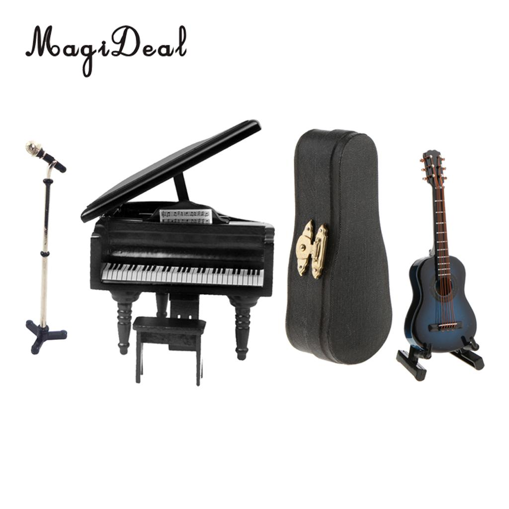Modern Style 1/12 Miniature Microphone Guitar Piano Set for Dollhouse House Model Life Scene Decor Children Kids Gift fit 1 6 12 dolls scene accessories piano red wood transparent piano stool set