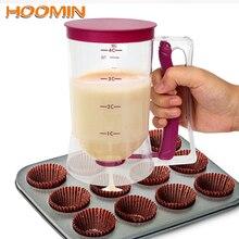 HOOMIN 900 мл, мерный стакан тесто муки дозатор пасты для кексов, блинов, печенья, кексов, кексов, сливок, сператор, инструменты для выпечки