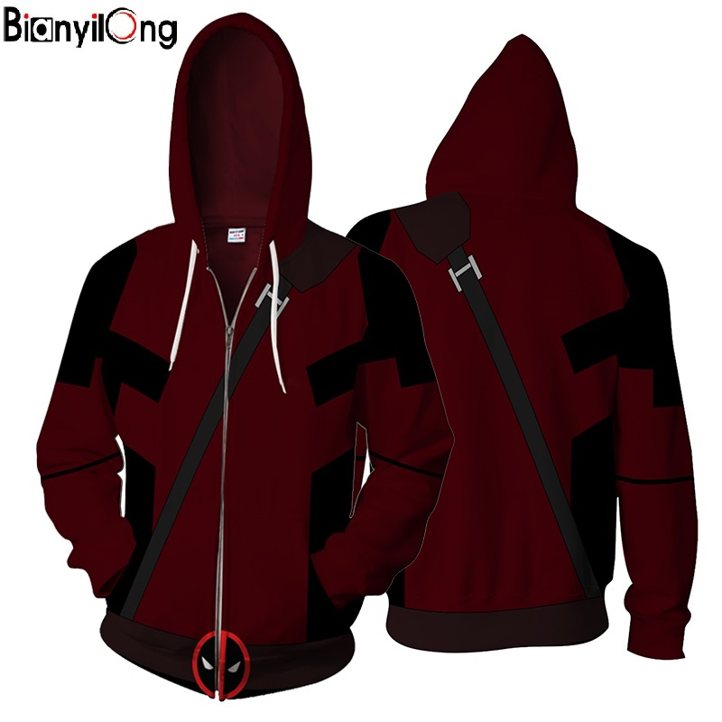 2018 New Deadpool 3d Printed Springtime New Style American Superhero Hoodies Zipper Outerwear Casual Hooded Hoodies Us Size Tops