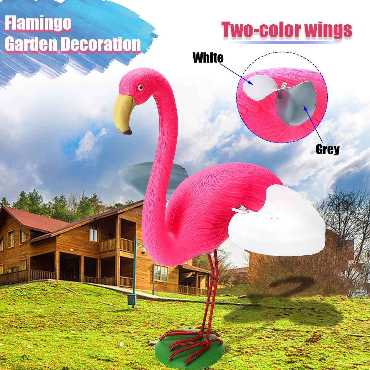 Resin+Metal Outdoor Pink Flamingo With Wings Flamingo Garden Ornament Set Light Realistic Decoration As Yard Collectibles/Gifts