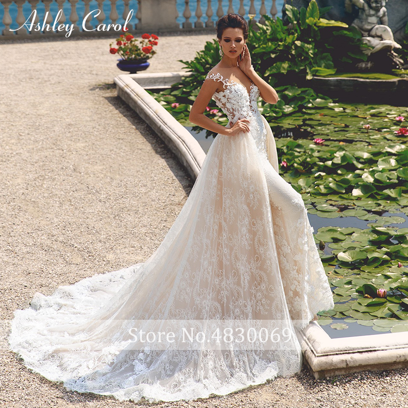 Image 2 - Ashley Carol Wedding Dress 2019 Deep V neckline Off the Shoulder 2 In 1 Detachable Train Vintage Mermaid Bride Gown Customized-in Wedding Dresses from Weddings & Events