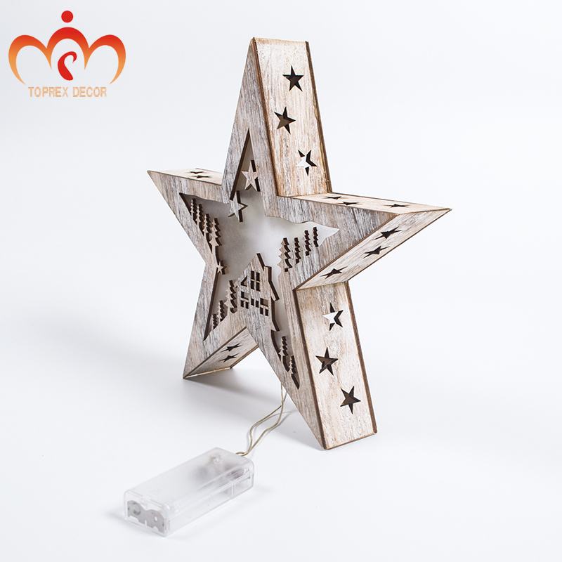 Christmas Wooden Star Lighting Festival Decoration LED Holiday Party Lights 2AA Batteries Operated Xmas Gift Fairy Light Decor