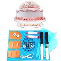 50pcs Cake Baking Decorating Tools Mouth Turntable Cream Writing Pen Bag Spatula Scraper Flower Nail Scissors
